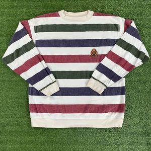 90's Structure Striped Crest Crewneck Sweatshirt